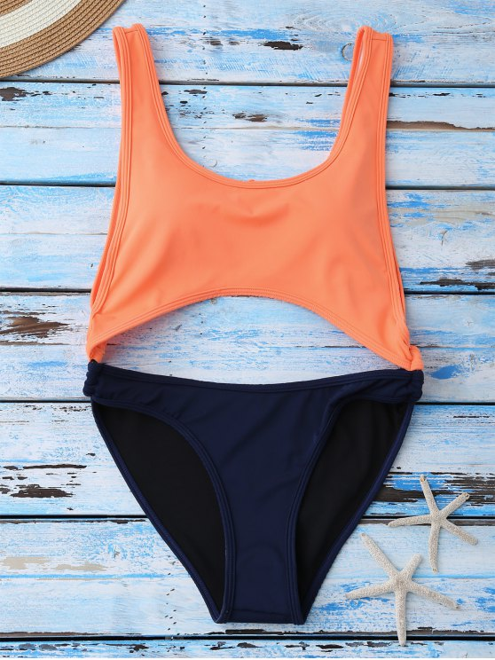 buy Color Block Cut Out Swimwear - ORANGE M