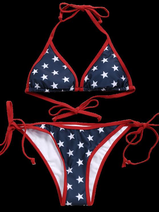 Star String Bikini Set - BLUE L Mobile