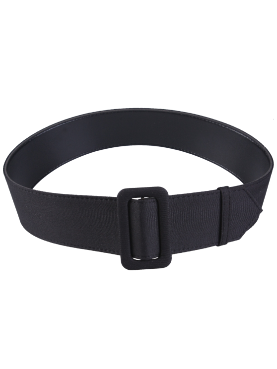 Fabric Panel PU Leather Belt - BLACK  Mobile