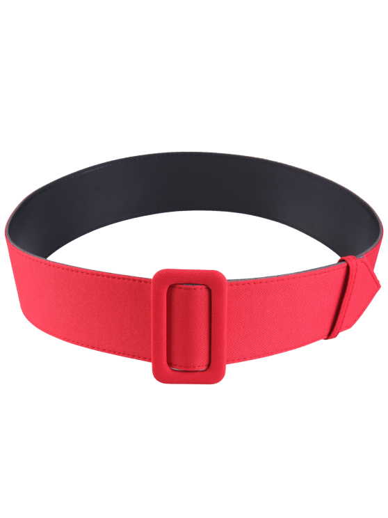 shop Fabric Panel PU Leather Belt - RED