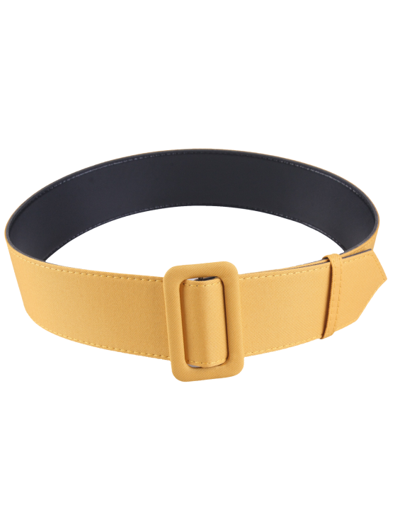 hot Fabric Panel PU Leather Belt - YELLOW
