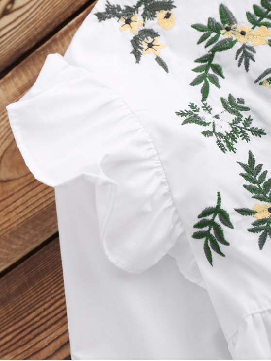 Leaf Embroidered Ruffle Smock Top - WHITE S Mobile