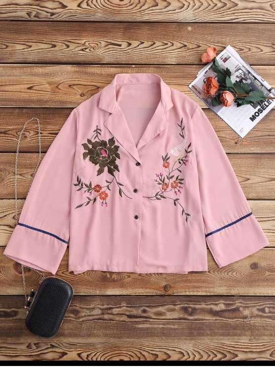 outfit Embroidered Pajama Shirt - PINK S