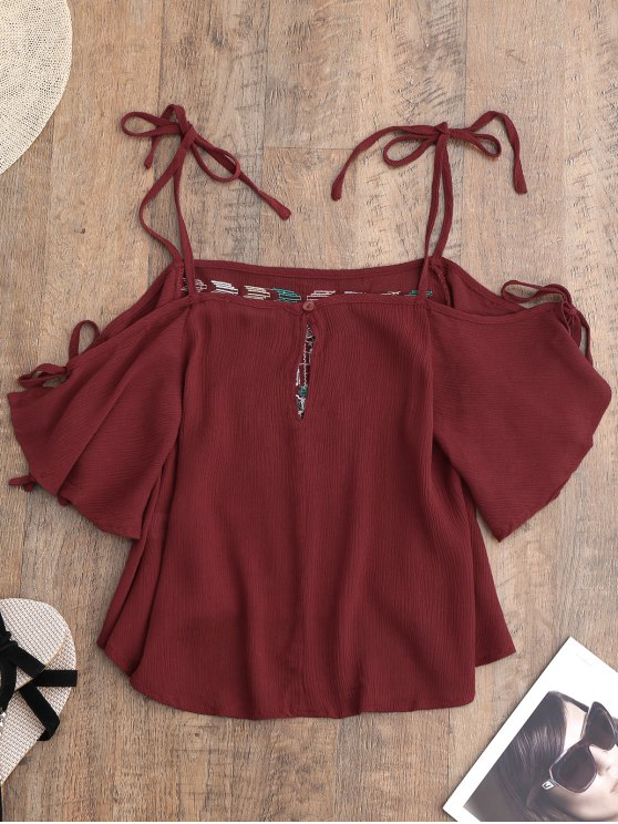 Embroidered Cold Shoulder Top - RED M Mobile