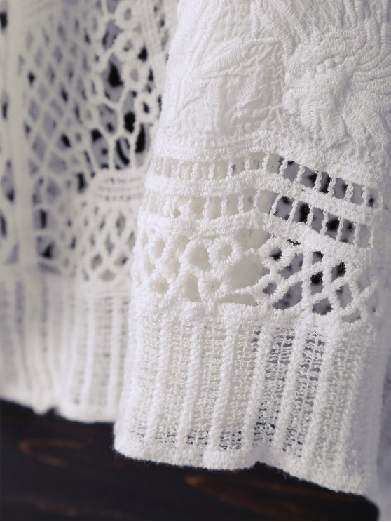 V Neck Crochet Batwing Cover Up - OFF-WHITE ONE SIZE Mobile
