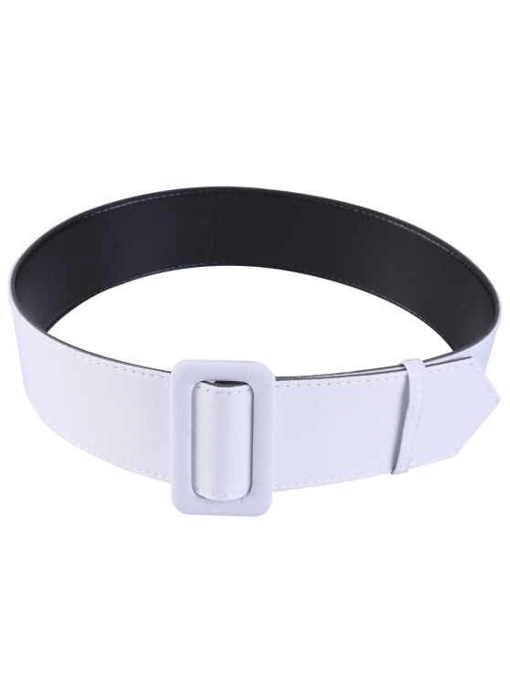Fabric Panel PU Leather Belt - WHITE  Mobile