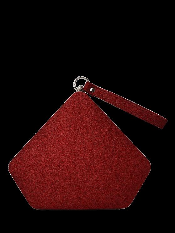 womens Glitter Geometric Sequin Evening Bag - RED