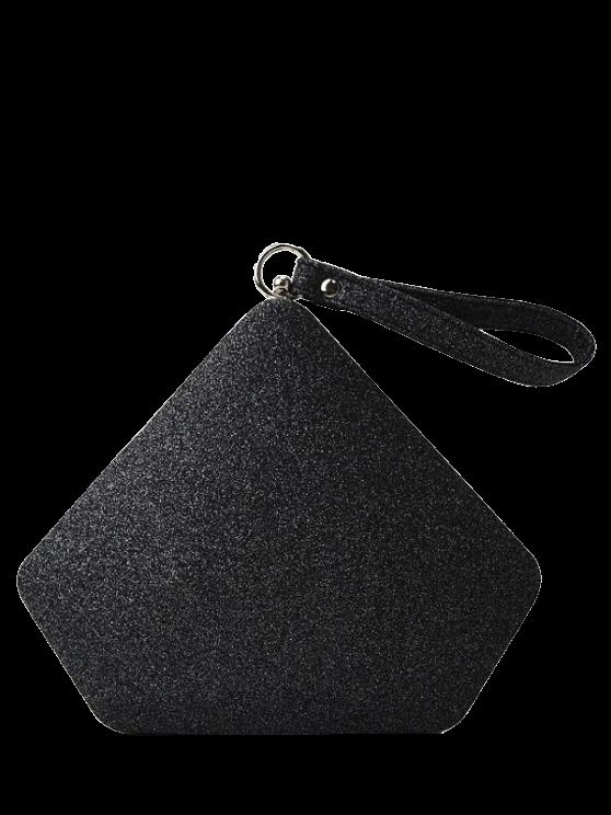 Geométrico brillo de lentejuelas bolso de tarde - Negro