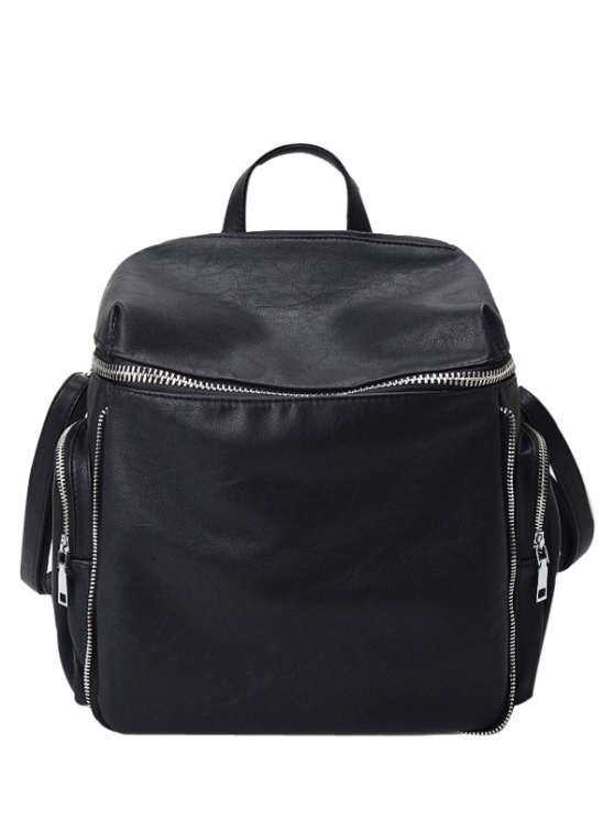 new Zip Aroud Faux Leather Backpack - BLACK