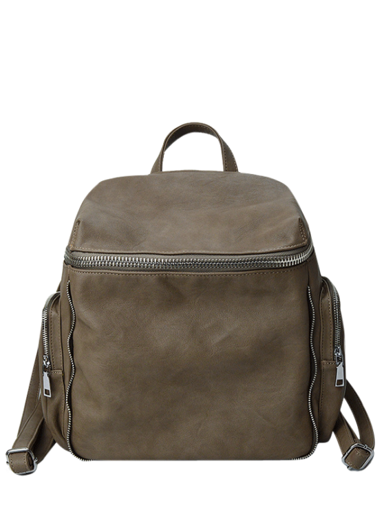 hot Zip Aroud Faux Leather Backpack - CAMEL