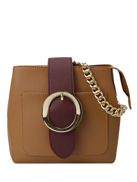 trendy Buckle Strap Chains Cross Body Bag - BROWN