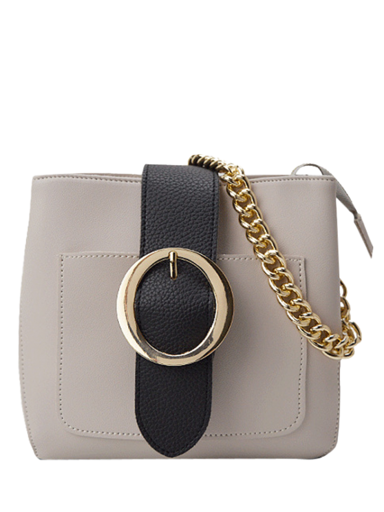 fashion Buckle Strap Chains Cross Body Bag - OFF-WHITE