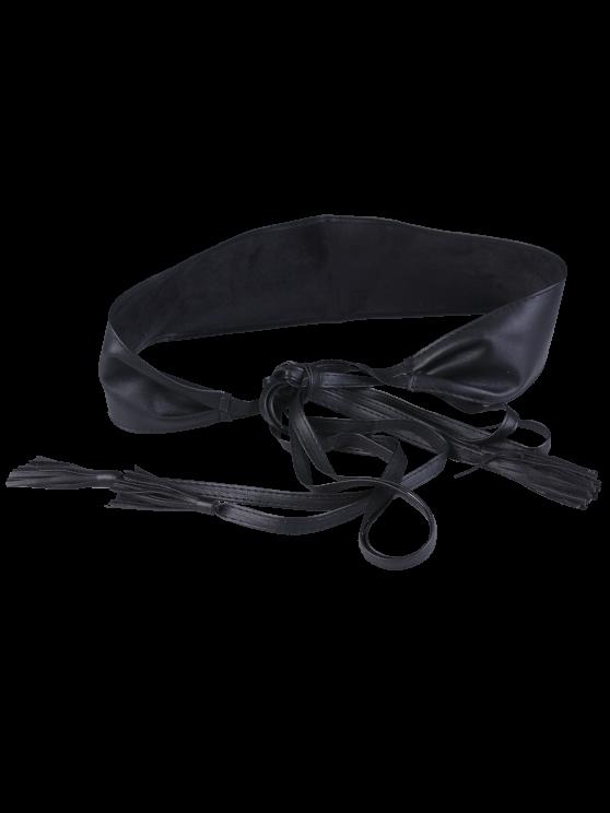 Long Tail Tassel lacent large ceinture - Noir