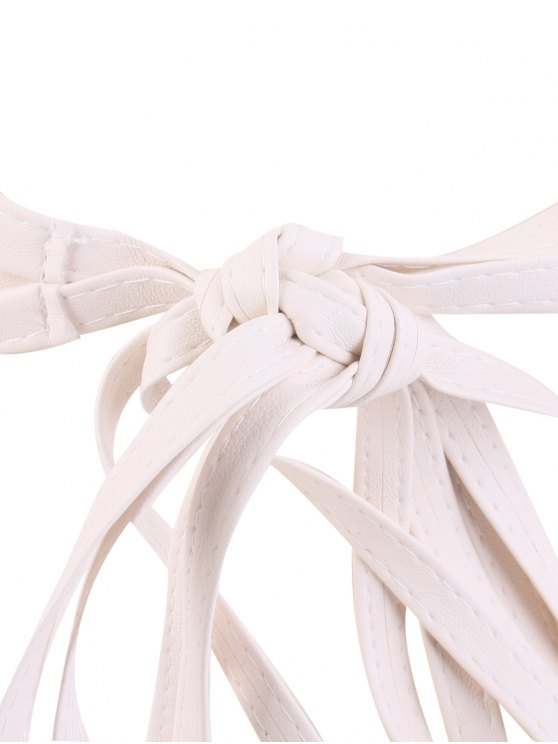 Tassel Long Tail Lace Up Wide Belt - WHITE  Mobile