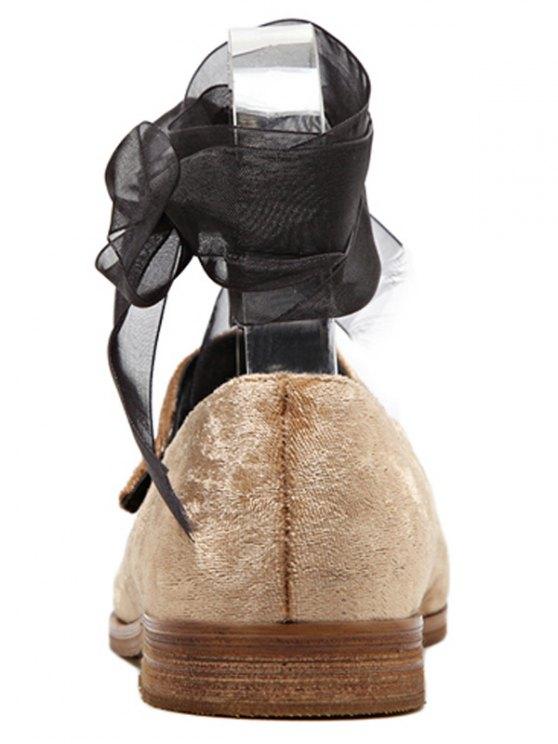 Ribbon Tie Up Velvet Flat Shoes - APRICOT 39 Mobile