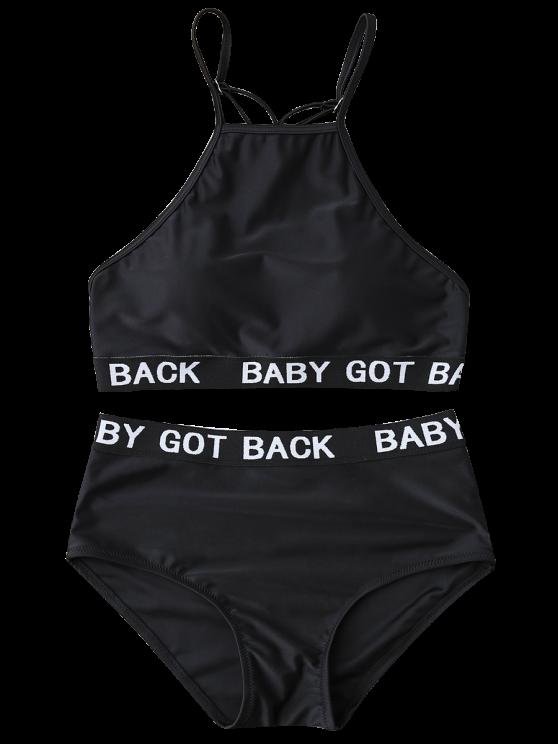Graphic High Waisted Bikini - BLACK XL Mobile