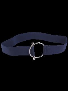Round Metallic Buckle Elastic Stretch Belt - Blue