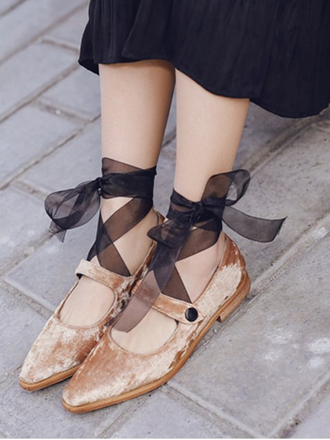 hot Ribbon Tie Up Velvet Flat Shoes - APRICOT 37 Mobile