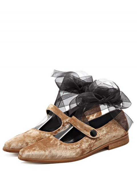 outfits Ribbon Tie Up Velvet Flat Shoes - APRICOT 39 Mobile