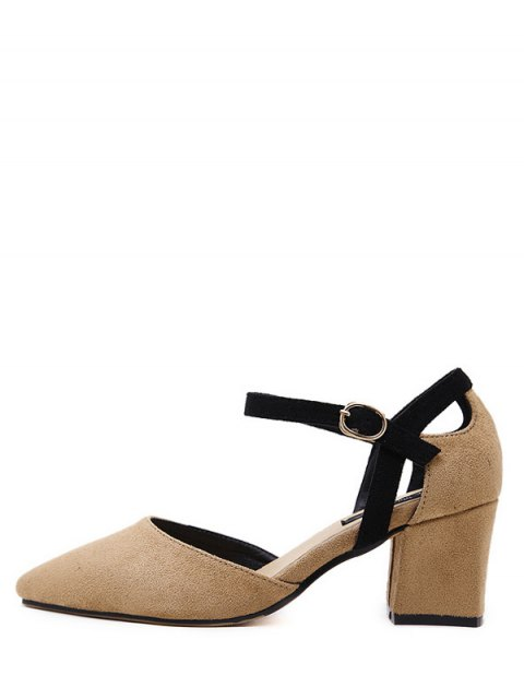 buy Pointed Toe Suede Chunky Heel Pumps - KHAKI 39 Mobile