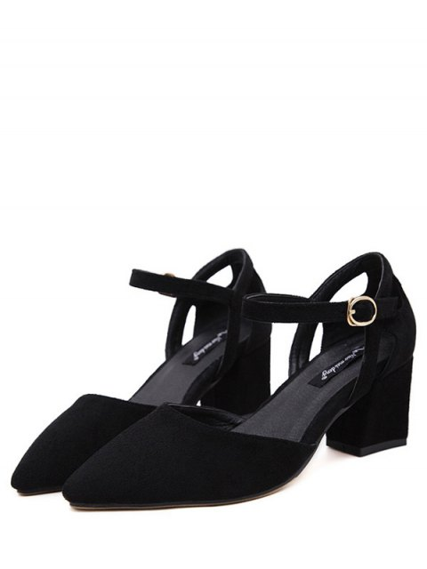 unique Pointed Toe Suede Chunky Heel Pumps - BLACK 37 Mobile