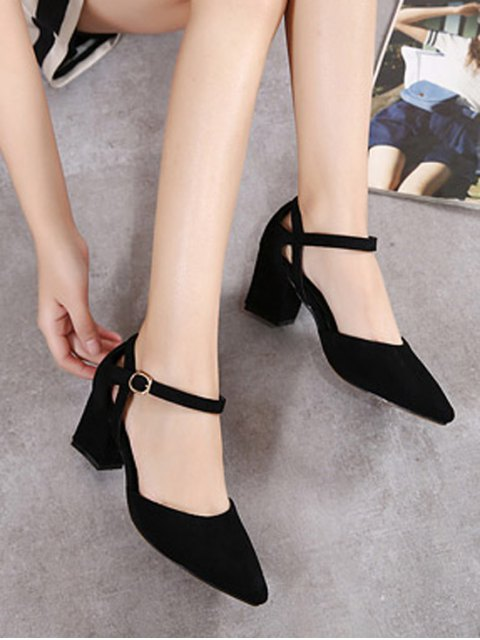sale Pointed Toe Suede Chunky Heel Pumps - BLACK 38 Mobile