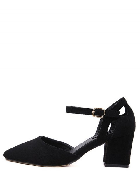 affordable Pointed Toe Suede Chunky Heel Pumps - BLACK 39 Mobile