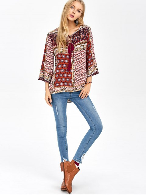 trendy Retro Print High Low Tee - COLORMIX L Mobile