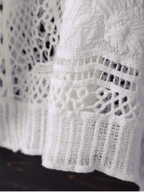 hot V Neck Crochet Batwing Cover Up - OFF-WHITE ONE SIZE Mobile