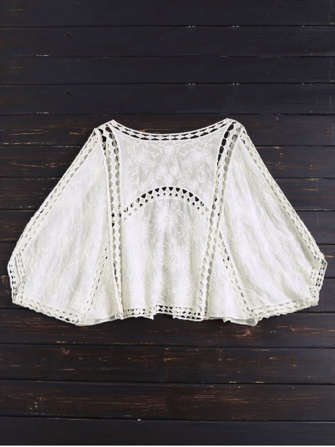shops Open Front Batwing Cover Up - OFF-WHITE ONE SIZE Mobile