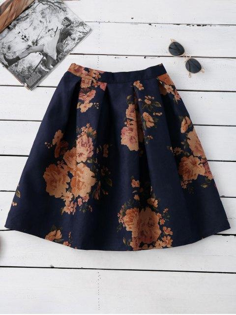 latest Knee Length Floral A-Line Skirt - PURPLISH BLUE ONE SIZE Mobile