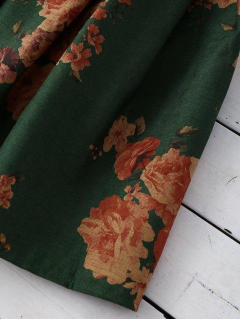 trendy Flower Knee Length A-Line Skirt - GREEN ONE SIZE Mobile