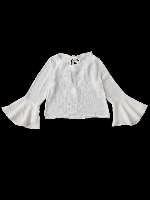 best Tied Flare Sleeve Linen Blouse - WHITE S Mobile