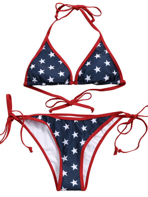 latest Star String Bikini Set - BLUE L Mobile