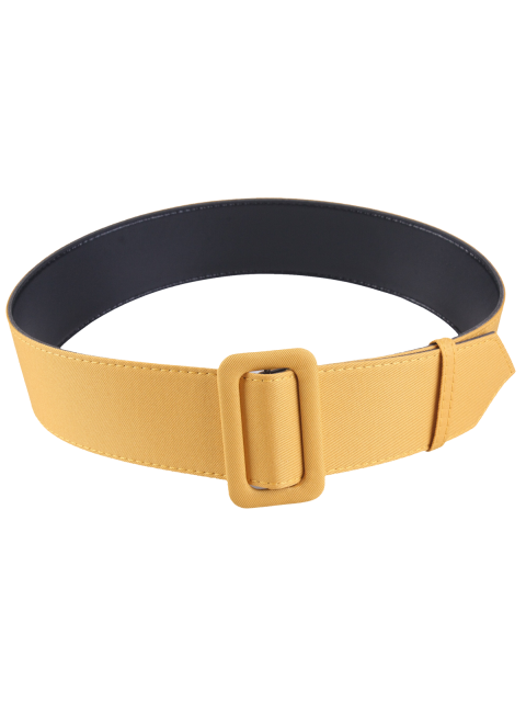 hot Fabric Panel PU Leather Belt - YELLOW  Mobile