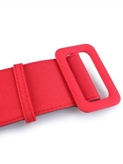 shop Fabric Panel PU Leather Belt - RED  Mobile