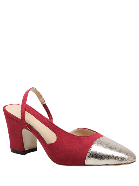 online Slingback Color Block Chunky Heel Pumps - RED 37 Mobile