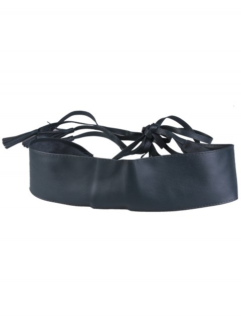 hot Tassel Long Tail Lace Up Wide Belt - BLACKISH GREEN  Mobile