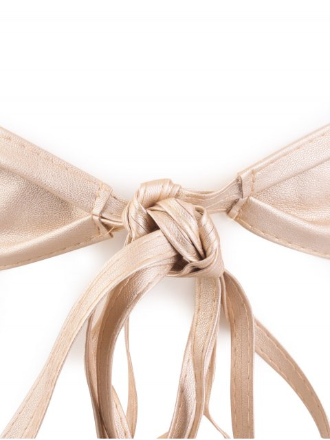 ladies Tassel Long Tail Lace Up Wide Belt - CHAMPAGNE GOLD  Mobile