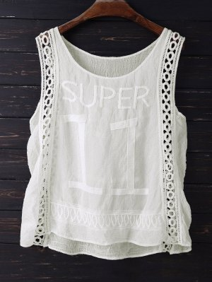 Embroidered Scoop Neck Tank Top - Off-white