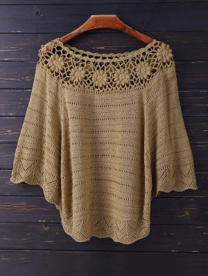 Crochet Flower See Thru Dolman Top - Coffee