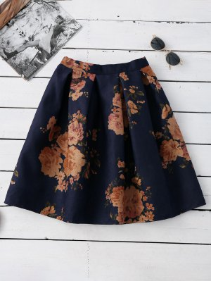 Knee Length Floral A-Line Skirt - Purplish Blue