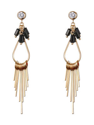Faux Gem Teardrop Fringed Drop Earrings - Golden