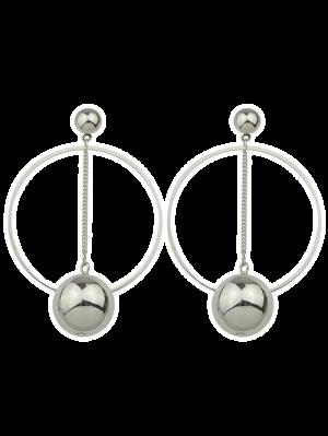 Alloy Circle Ball Earrings - Silver