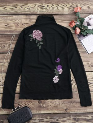 Floral Embroidered Mesh Sheer Tee - Black