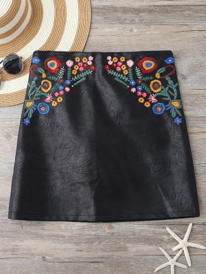 Embroidered Faux Leather Miniskirt - Black