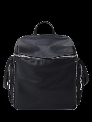 Zip Aroud Faux Leather Backpack - Black