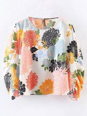 Chrysanthemum Print Blouse - White