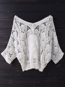 V Neck Crochet Batwing Cover Up - Off-white