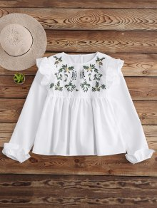 Leaf Embroidered Ruffle Smock Top
